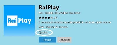 RaiPlay per dispositivi fissi e mobili Windows 10: universal app ufficiale
