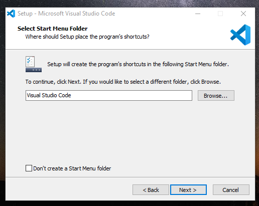 Setting shortcut start menu Visual studio Code