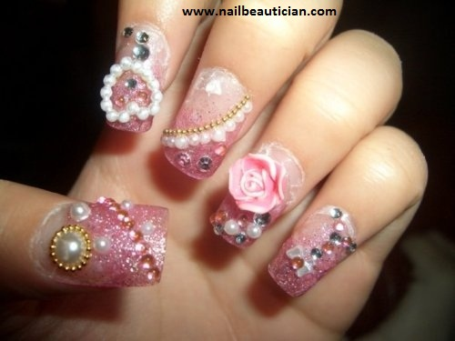 Party nail art with jewellery