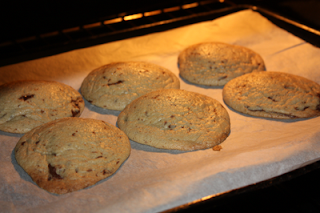 six cookies on a baking tray in the oven, in the process of baking