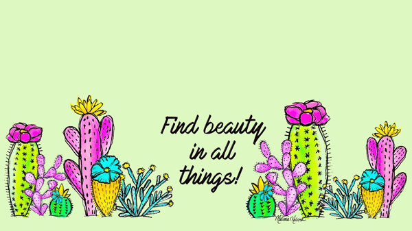 watercolor flowering cactus desktop wallpaper with neo mint green background