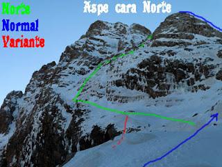 Vista de la cara Norte del Aspe y recorrido aproximado