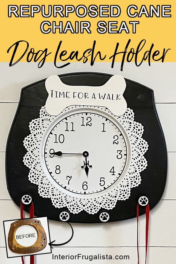 How to turn an old cane chair seat into a one-of-a-kind dog leash holder with a Time For A Walk Clock and paw print dog leash hooks for the back door. #dogleashholderideas #dogleashhooks #dogleashorganizer