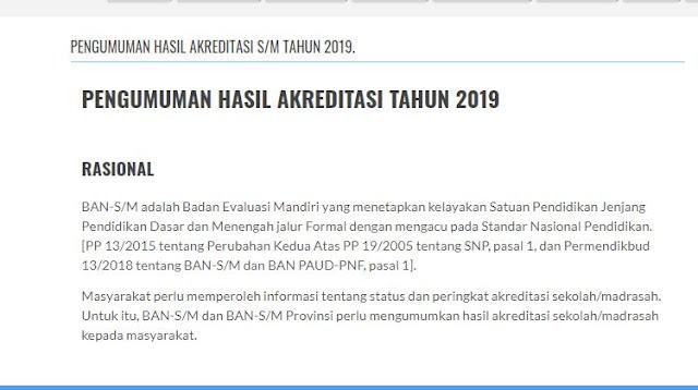 Hasil Akreditasi Sekolah/Madrasah 2019 (Tahap 1, 2, 3, 4, 5)