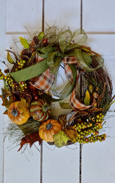 Ribbon, fall, pumpkin wreath
