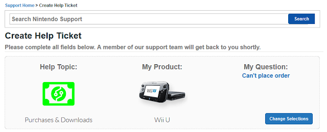 Nintendo Support Create Help Ticket Contact can't place order Wii U purchases downloads