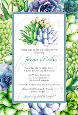 Watercolor Succulents - Rehearsal Dinner, Bridal, Couples, Baby Shower, Engagement Party Invitation - Bohemian Rustic Digital DIY anniversary birthday party 5x7 outline green lime turquoise aqua blue purple lavender pink orange red salmon leaves leaf plant plants cactus cacti unique shabby chic artist artistic paint hand painted