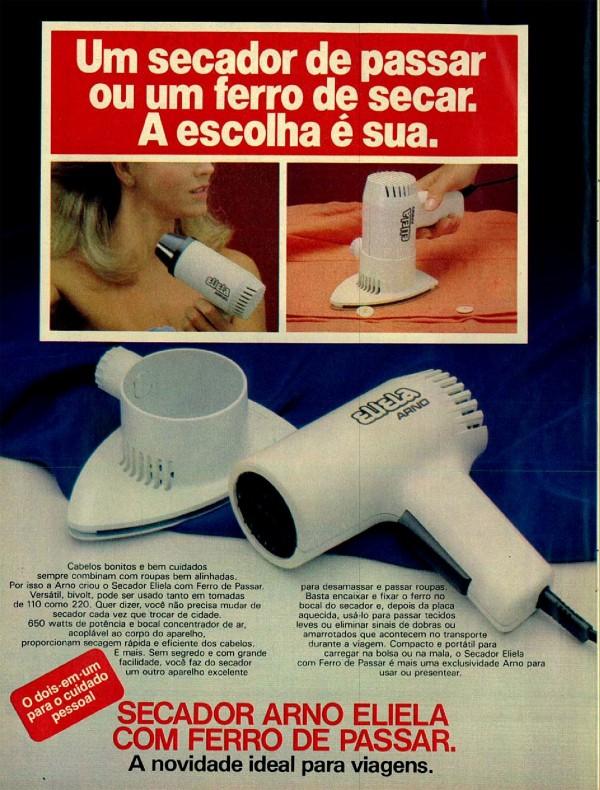 Anúncio antigo de 1986 da Arno apresentando um secador de cabelo que funciona como ferro de passar roupa
