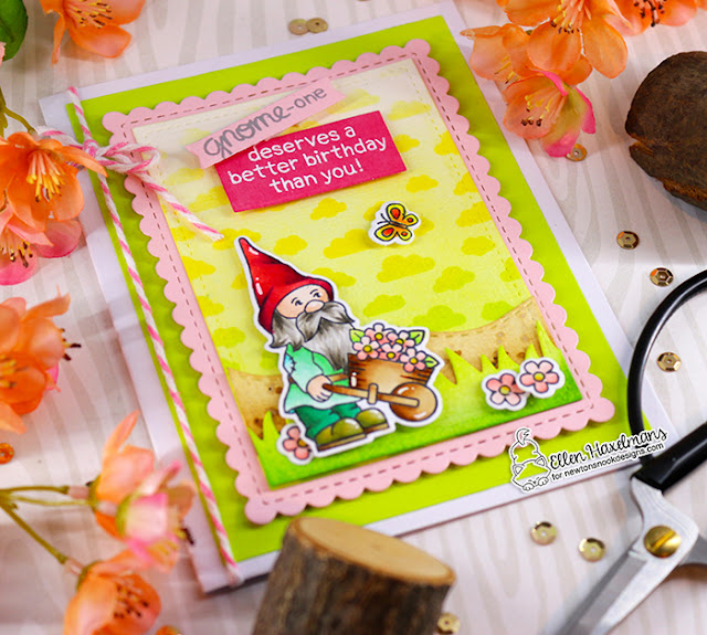 Gnome card by Ellen Haxelmans | Gnome Garden Stamp Set, Petite Clouds Stencil, Land Borders Die Set and Frames & Flags Die Set by Newton's Nook Designs #newtonsnook