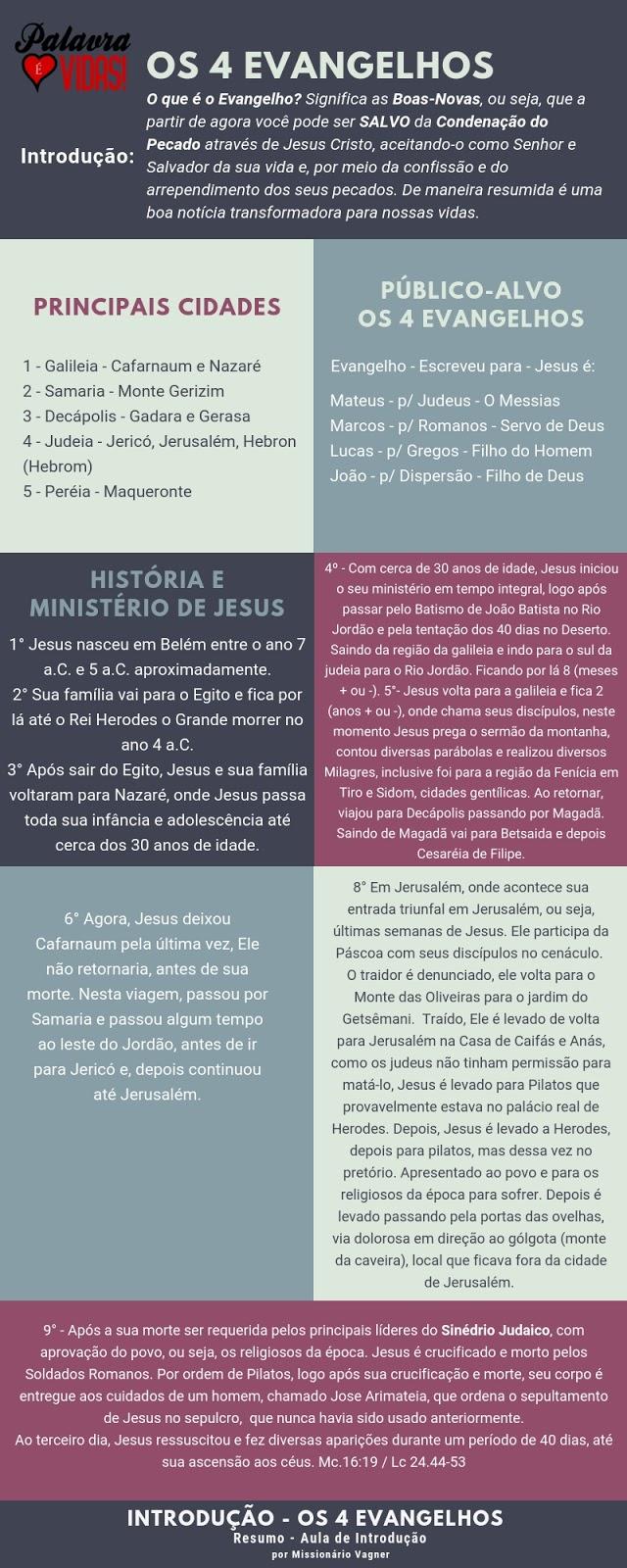Infográfico Bíblico - Introdução Resumo: Os 4 Evangelhos
