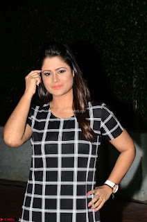 Shilpa Chakravarthy in Dark blue short tight dress At Srivalli Movie Pre Release Event ~  Exclusive Celebrities Galleries 021
