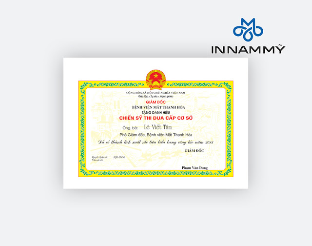 In giấy khen, làm bằng khen giấy chứng nhận giá rẻ tại Thanh Hóa