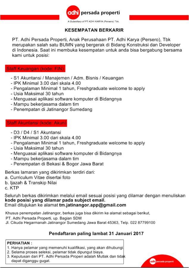 Lowongan Kerja PT. Adhi Persada Properti Jatinangor Januari 2017