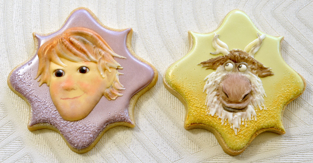 Decorated cookies of Kristoff and Sven from Frozen, photo by Honeycat Cookies