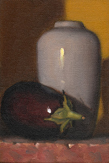 Still life oil painting of an eggplant beside a white porcelain vase.