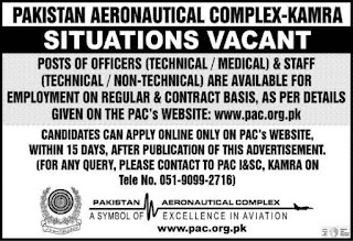 550+ Vacancies in Pakistan Aeronautical Complex PAC Jobs 2020 | Multiple Positions