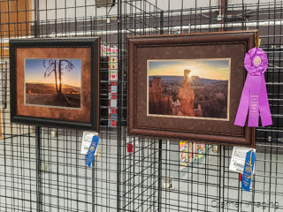 Photo of 2 Cramer Imaging landscape photographs receiving blue ribbons and sweepstakes awards at Garfield Utah County Fair 2020