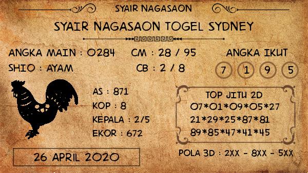 Prediksi Sidney 26 April 2020 - Syair Nagasaon Sidney