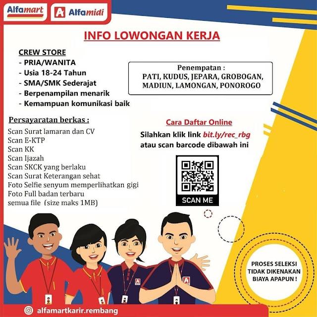 Lowongan Kerja Crew Store Alfamart Penempatan Pati Kudus Jepara Grobogan Madiun Lamongan Ponorogo