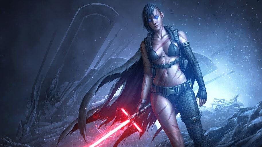 Star Wars, Girl, Lightsaber, Warrior, 4K, #4.980
