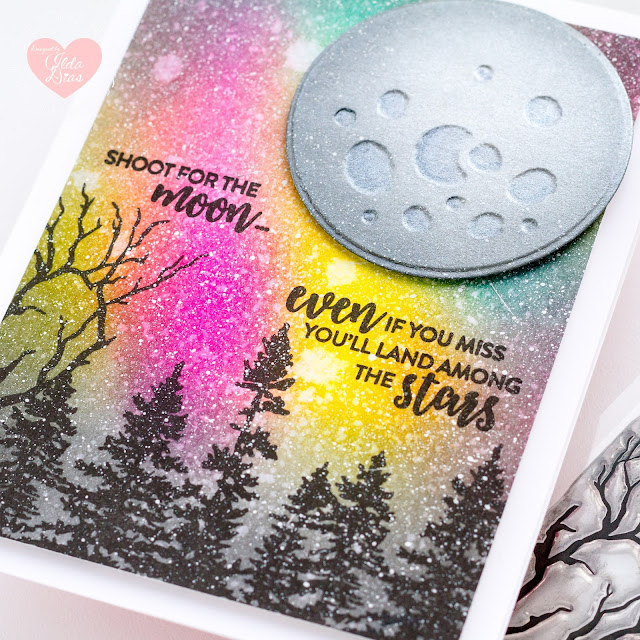 Tonic Studios, Shoot For the Moon Stamp Set, Blog Hop, December, 2020, Stamp Release,Card Making, Stamping, Die Cutting, handmade card, ilovedoingallthingscrafty, Stamps, how to,Northern lights blended background,