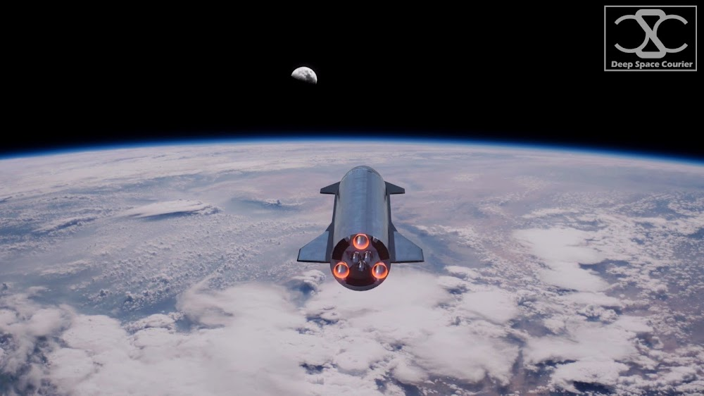 SpaceX Starship flying to the Moon by DeepSpaceCourier