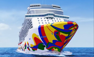 Norwegian Cruise Line's Norwegian Encore - Sporting her hull art - the Final Breakaway Plus Ship
