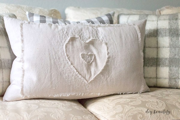 drop cloth heart pillow