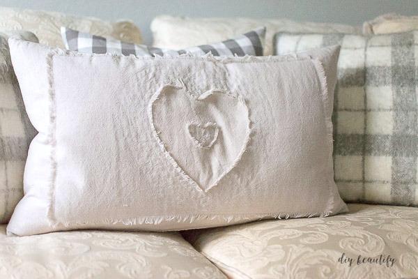 drop cloth heart pillow