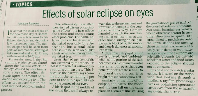 Effects of Solar Eclipse on Eyes