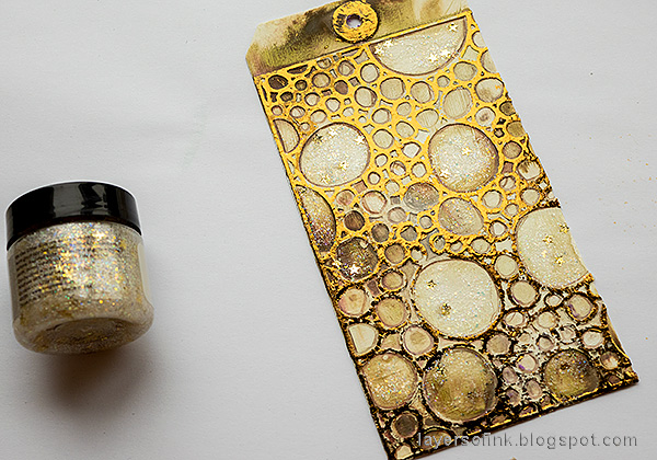 Layers of ink - Foil and Flowers Tag Tutorial by Anna-Karin Evaldsson. Add Stickles glitter glue.