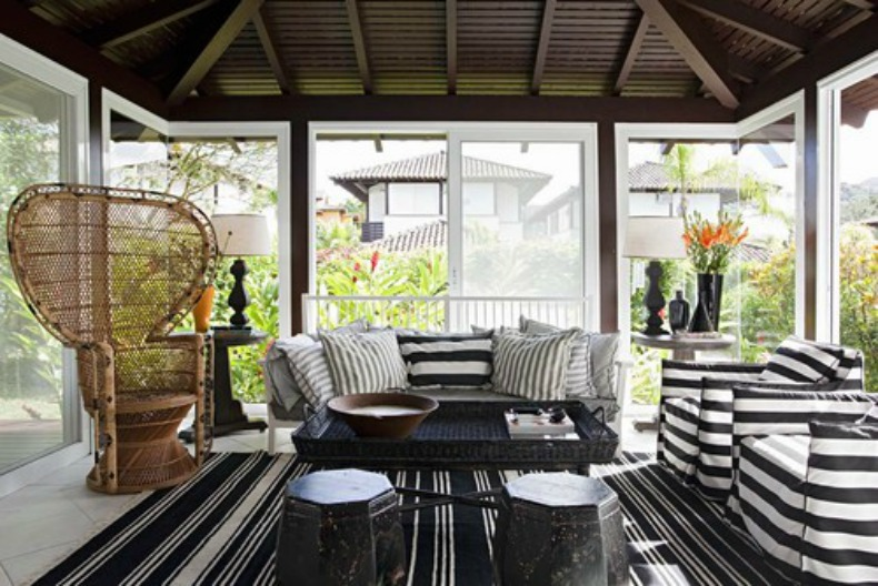 Coastal slipcover sofa and chairs in black and white stripe