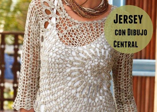 Un top jersey calado con dibujo central patrón precioso que simplemente necesita de observación tiene un motivo circular