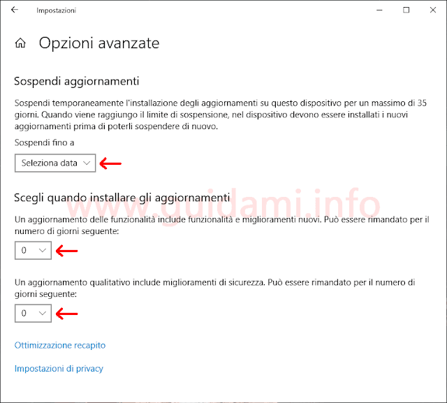 Windows Update in Windows 10 1903 schermata Opzioni avanzate