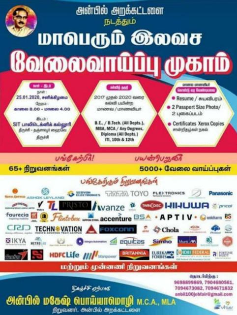 Trichy Mega Private Job Fair on 25th January 2020