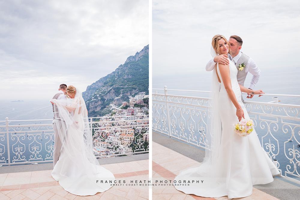 Bride and groom at Villa Oliviero