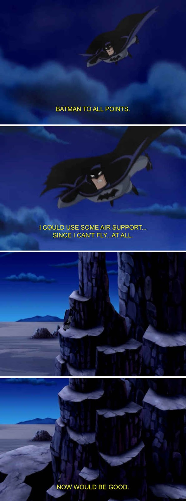 Batman requests help from the Justice League because he can't fly