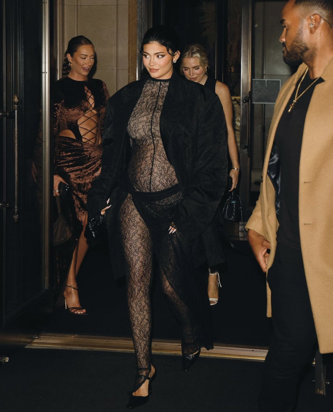 Kylie Jenner Shows Off Her Baby Bump in Racy Lace Look During NYC Night Out
