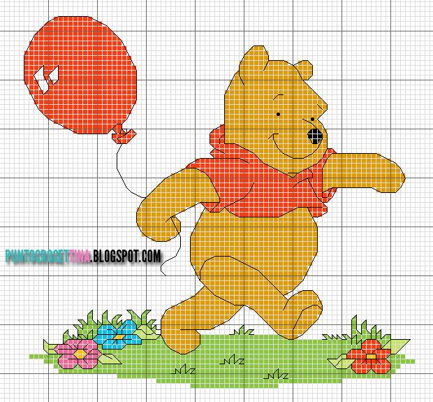 Schema punto croce winnie the pooh con palloncino gratis for Punto croce disney winnie the pooh