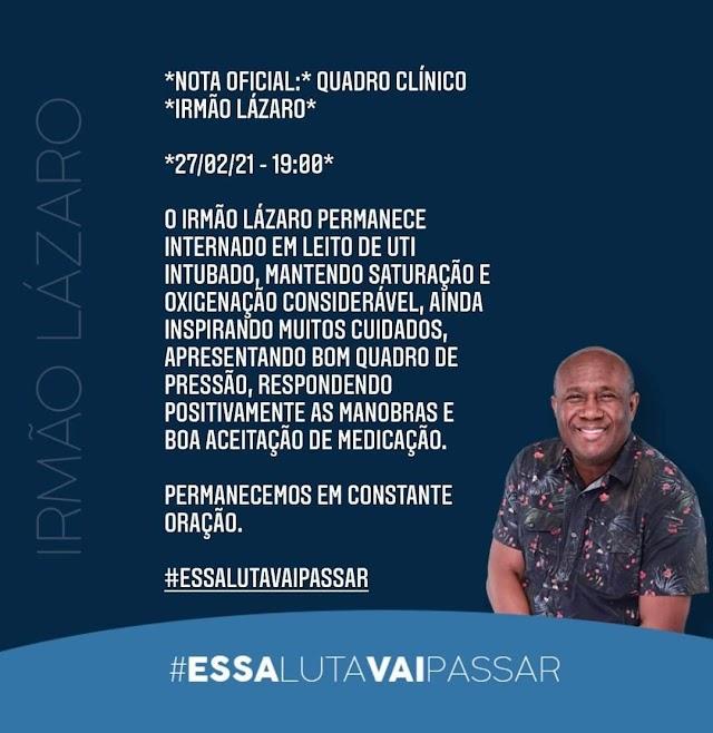 Assessoria do cantor lazaro solta comunicado falando sobre o seu real estado de saúde