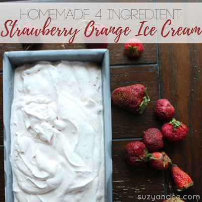 Homemade Strawberry orange ice cream
