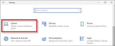 Pilih menu System di settings