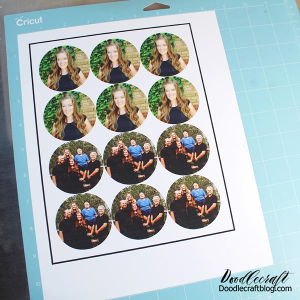 Step 3: Cut Stickers After printing, place the page on the Cricut Light Grip Mat and then place it in the Cricut.