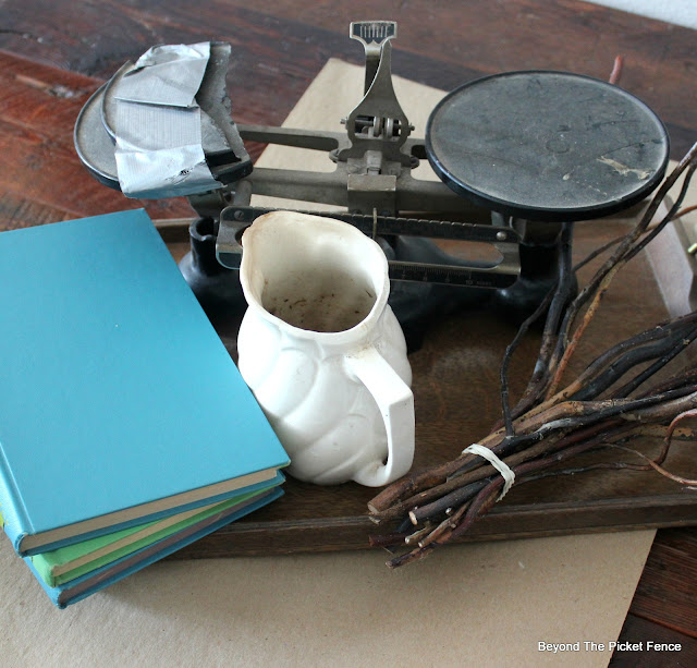 DIY, thrift store finds, old books, twigs, white pitcher, http://bec4-beyondthepicketfence.blogspot.com/2016/01/how-to-make-centerpiece.html