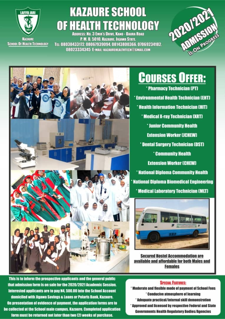 Kazaure School of Health Form 2020/2021 | Diploma & Cert.