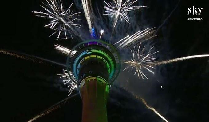 Já é 2020 na Nova Zelândia: festa tem fogos e show de luzes