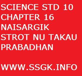 SCIENCE STD 10 CHAPTER 16 NAISARGIK STROT NU TAKAU PRABADHAN
