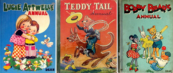Lucie Attwell   Teddy Tail  Bobby Bear three vintage annuals