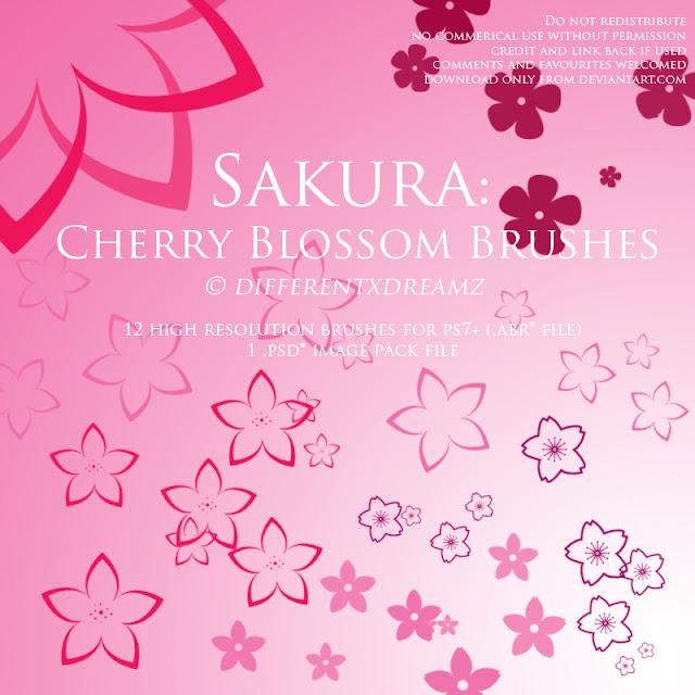 Sakura o pinceles de flor de cerezo gratis para photoshop