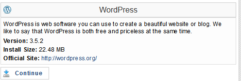 WordPress Installation - Installing WordPress Blog Software - Selecting the Blog - Step:3